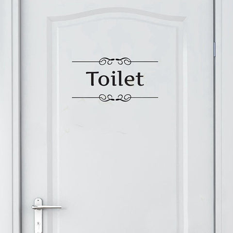 Vintage Wall Sticker Bathroom Decor Toilet Door Vinyl Decal Transfer Vintage Decoration Quote Wall Art