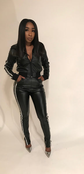 Giselle Swarvoski Leather Track Suit