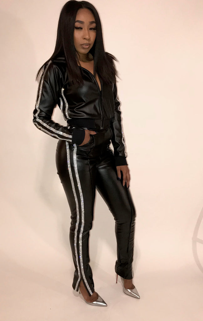 Giselle Swarvoski Leather Track Jacket