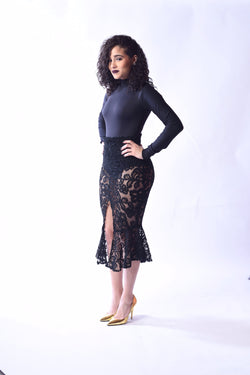 """Laced In Lace"" Midi Skirt"