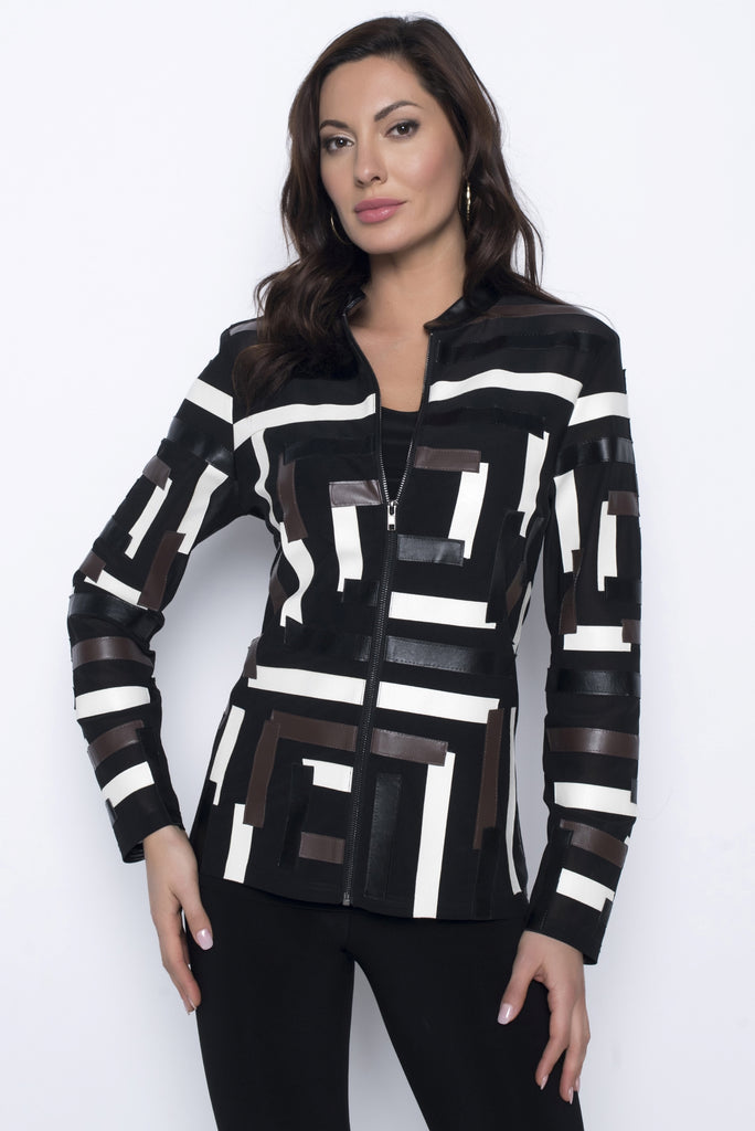 203158U Shear Faux Leather Patch Jacket