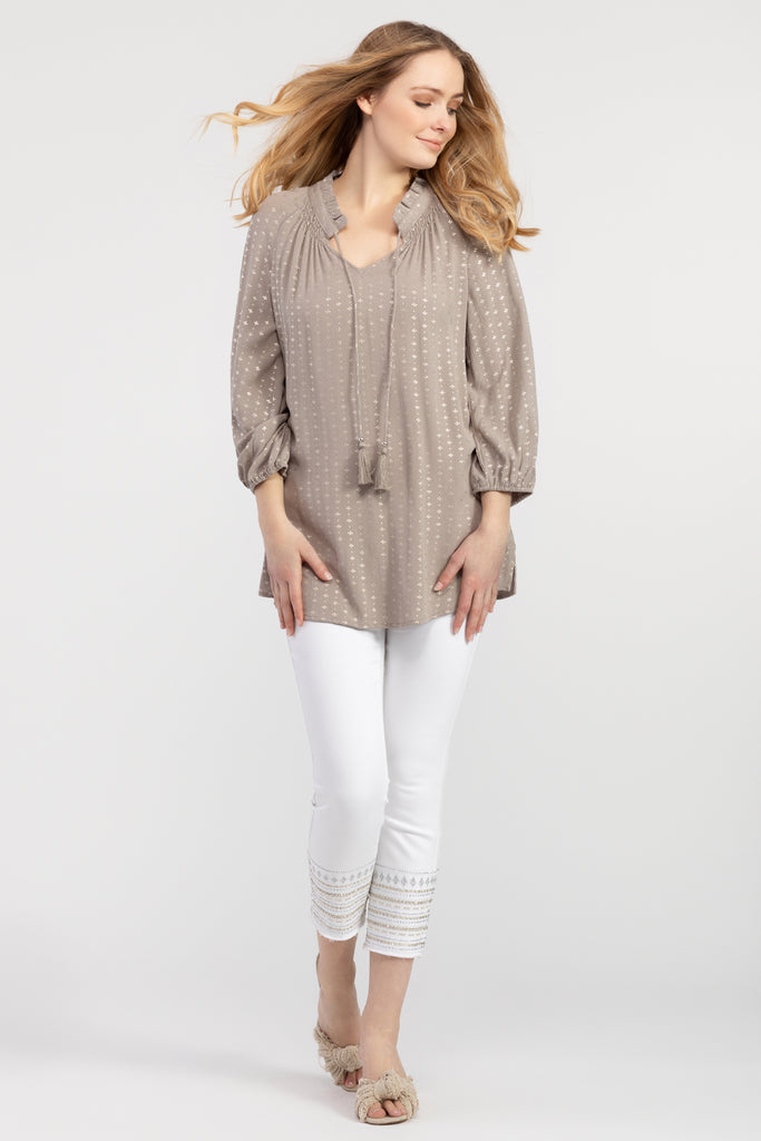 3/4 Sleeve Blouse With Tassel