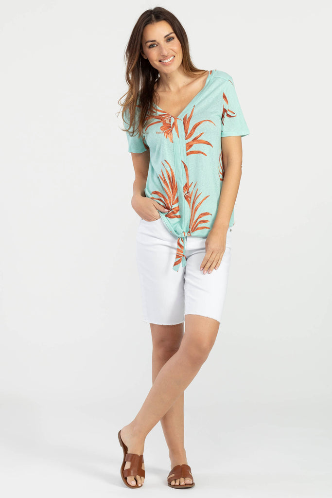 Tropical Knit Top With Tie Front