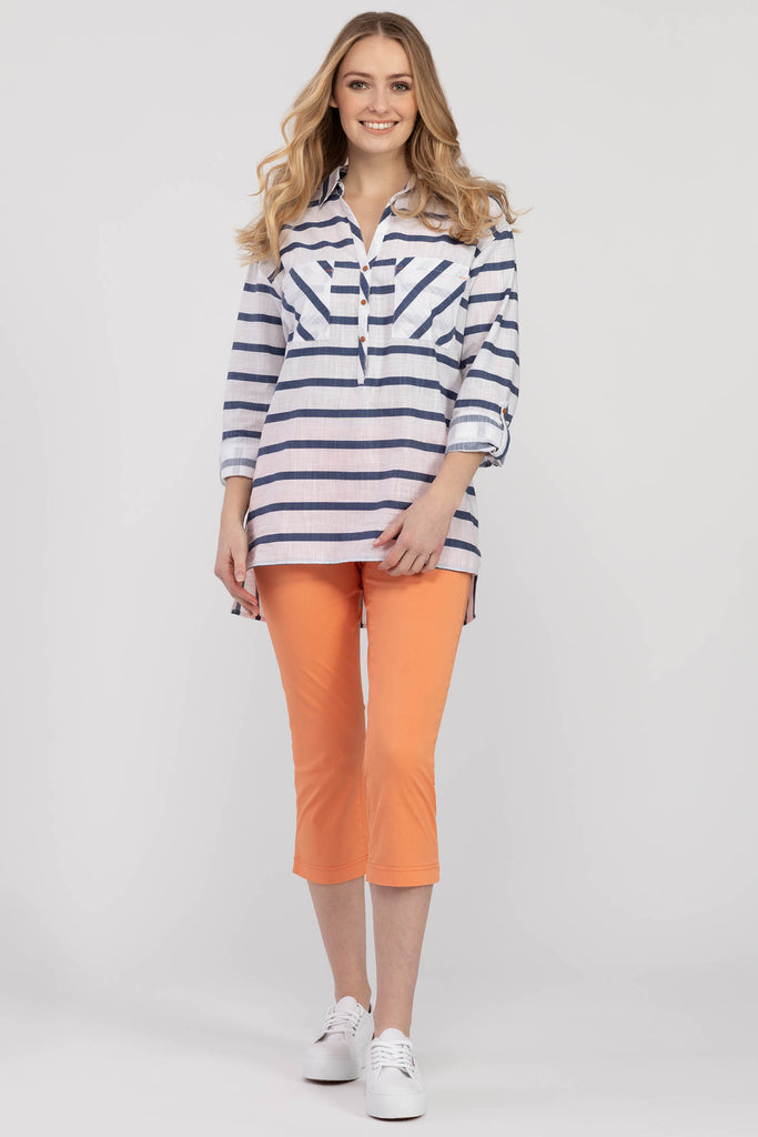 Roll-up Sleeve Striped Tunic