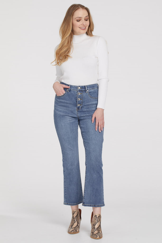 Brooke Buttonfly Straight Crop Jean