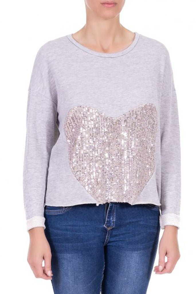 Sequin Heart Sweatshirt Top
