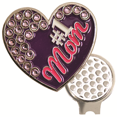 #1 Mom Bling Hat Clip Ball Marker