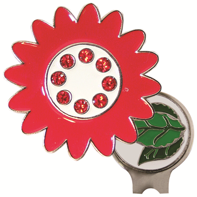 Red Poppy Bling Hat Clip Ball Marker