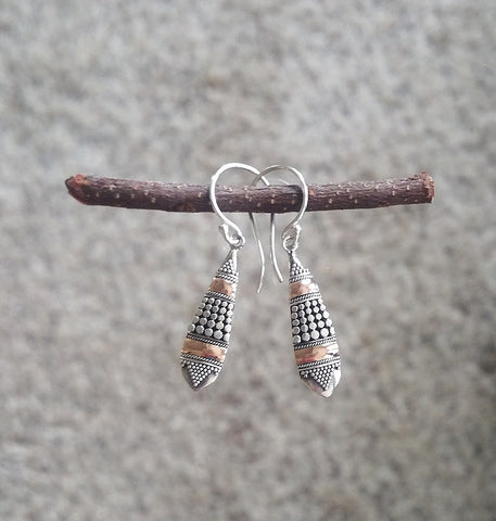 'Amaranth' Sterling Silver & 18k Gold Hook Earrings