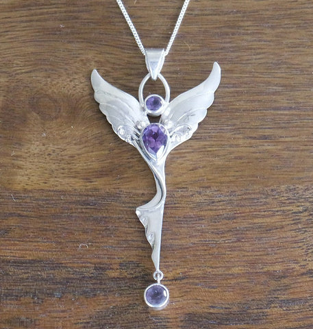 Amethyst & Sterling Silver 'Dancing Angel' Guardian Angel Necklace