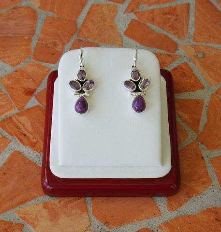 Amethyst, Purple Turquoise & Sterling Silver Hook Earrings
