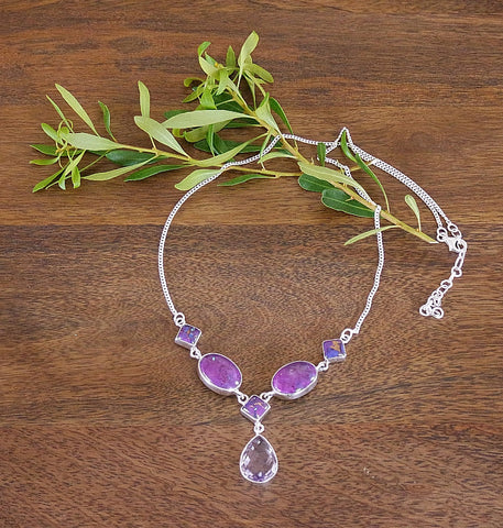 'Arabesque' Purple Turquoise, Amethyst and Sterling Silver Necklace