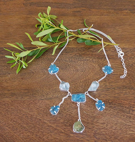 'Azurean Skies' Blue and Green Apatite & Sterling Silver Necklace