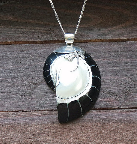 Black & White Shell and Silver 'Dragonfly' Pendant with Chain