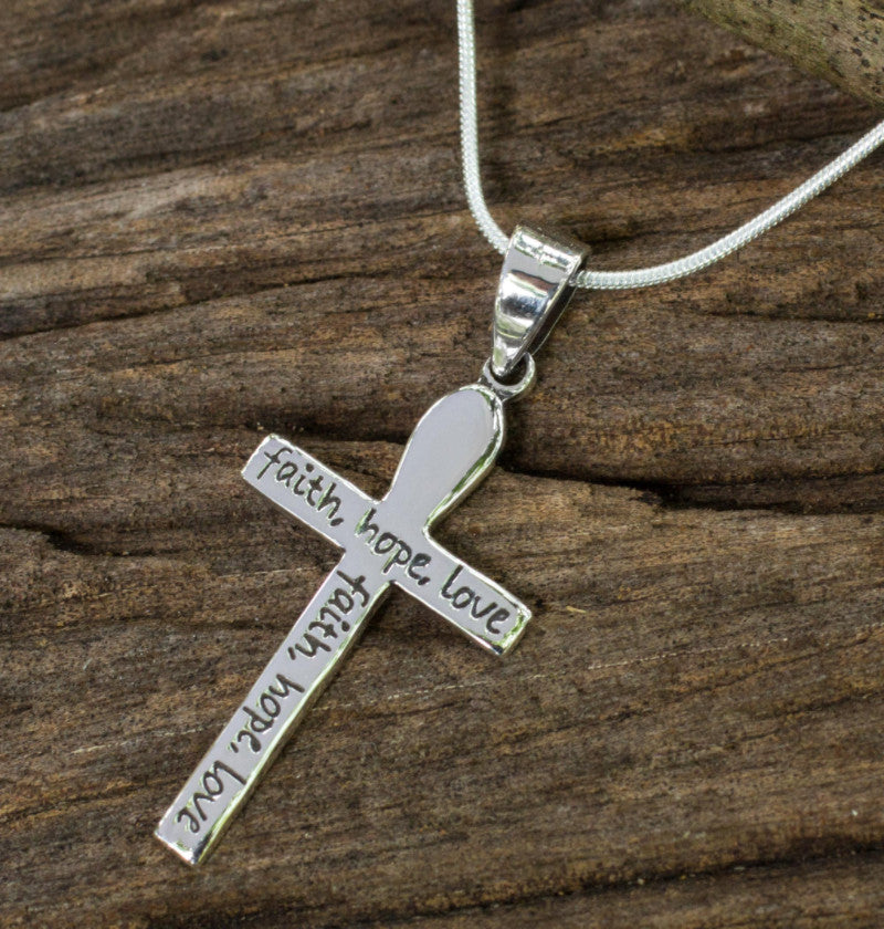 Faith hope love sterling silver cross necklace kaleidoscope faith hope love sterling silver cross pendant necklace aloadofball Image collections