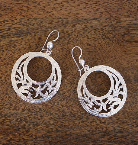 'Maya Forest' Sterling Silver Hook Earrings
