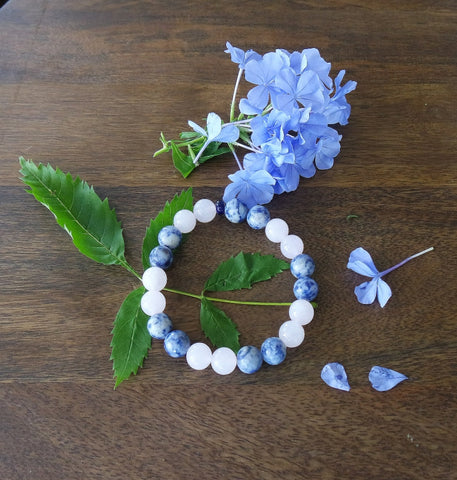 'Andean Dawn' Rose Quartz and Sodalite Stretch Bracelet