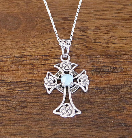 'Sacred Realm' Larimar & Sterling Silver Celtic 'Cross' Pendant Necklace