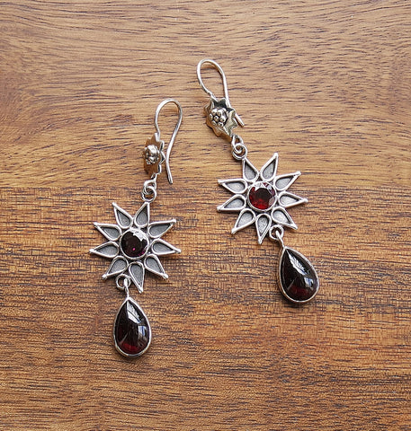 'Star of Love' Garnet & Sterling Silver Hook Earrings