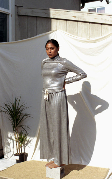 Metallic silver wide leg pants