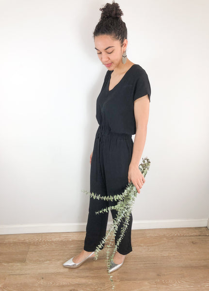 Black deep v jumpsuit