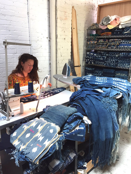 Mira Blackman Sudio - sewing indigo jacket
