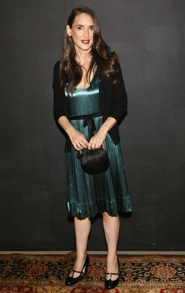 Winona Ryder - green silk dress - Marc Jacob's cat walk show