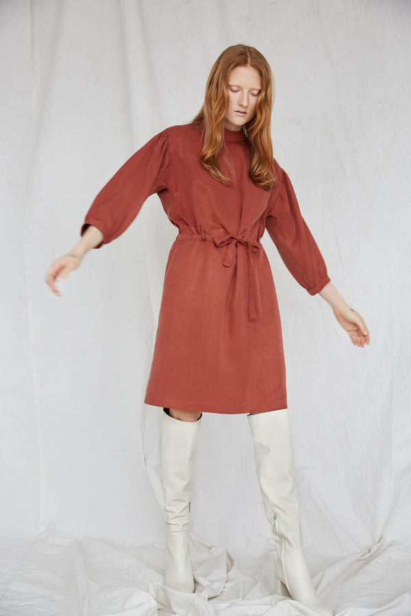 Eve Gravel Sonora Dress - rust above the knee dress with waist tie, 3/4 sleeves, and mock neckline.