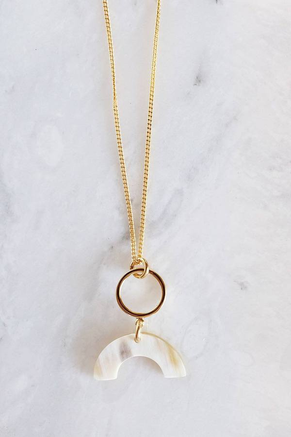 Hathorway geo crescent cream buffalo horn necklace