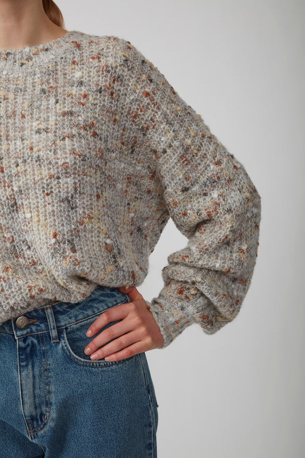 JUST Almine multi oversized crewneck pullover sweater - close up speckled knit