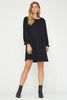 LACAUSA Josie black cotton gauze long sleeve babydoll dress