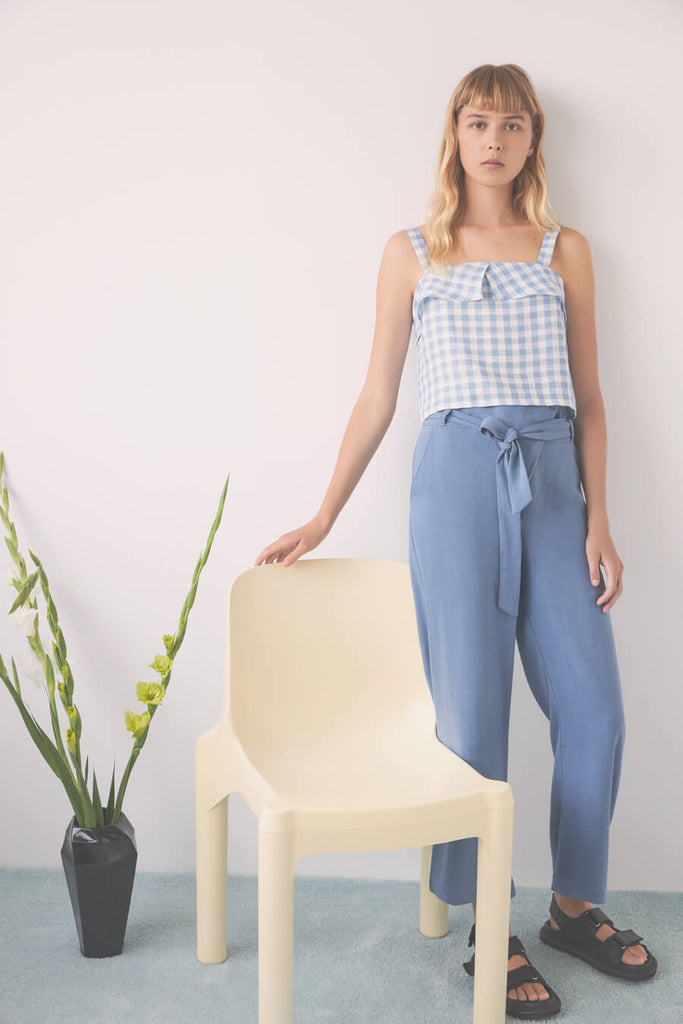 Orion Azur blue linen blend soft pants with wrap front and ties at waist by Eve Gravel