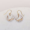 tan and white marble porcelain circle earrings