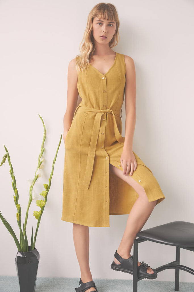 Eve Gravel Utopia Saffron Yellow Dress - vneckline, knee length, button front sleeveless dress with self tie.