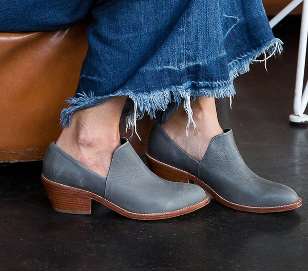 Fortress of Inca gray leather low bootie with wood block heel.