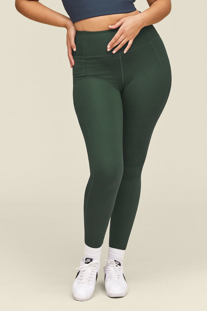 Girlfriend Collective sustainable compressive high rise leggings in moss green