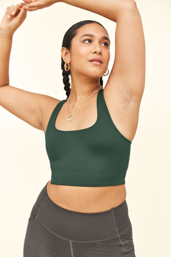 Girlfriend Collective sustainable paloma racer back sports bra in moss green