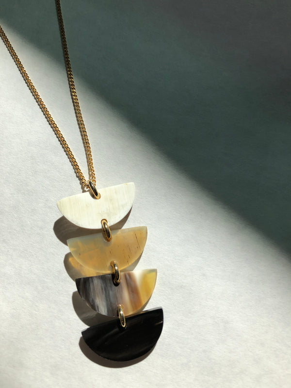 Hathorway hanoi crescent stacked ethically sourced buffalo horn necklace