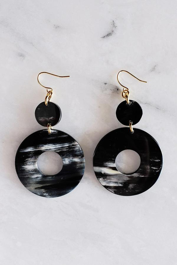 dark ethically sourced buffalo horn donut shaped earrings