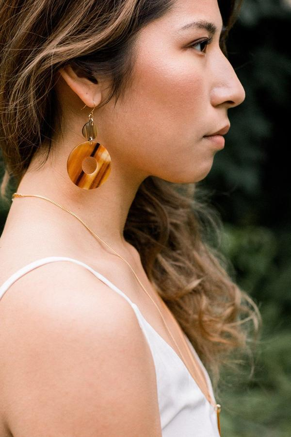 honey colored ethically sourced buffalo horn donut shaped earrings