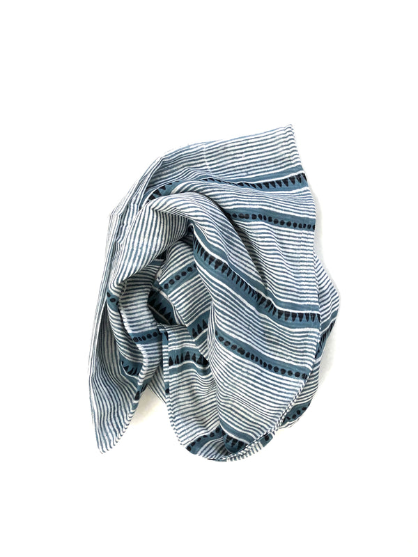 graymarket designs laya steel blue block printed cotton scarf