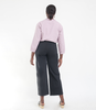 Loup NYC Toni black cotton twill wide leg pants - back view