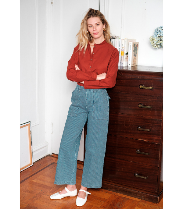 Loup NYC Iris railroad stripe denim worker pants with back pockets