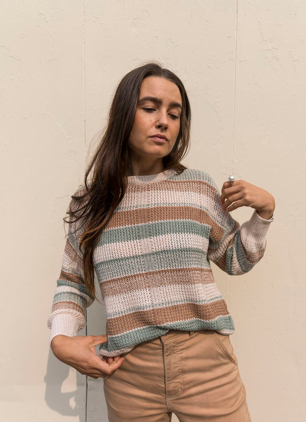 Callahan Melina sage and beige striped cotton sweater