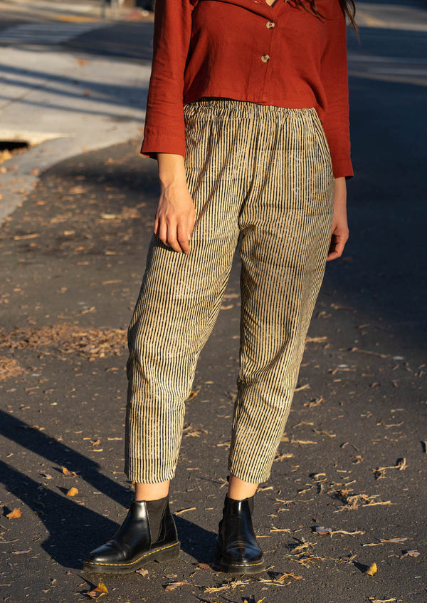 PO-EM sand and black stripe cotton pants with pockets and elastic waist