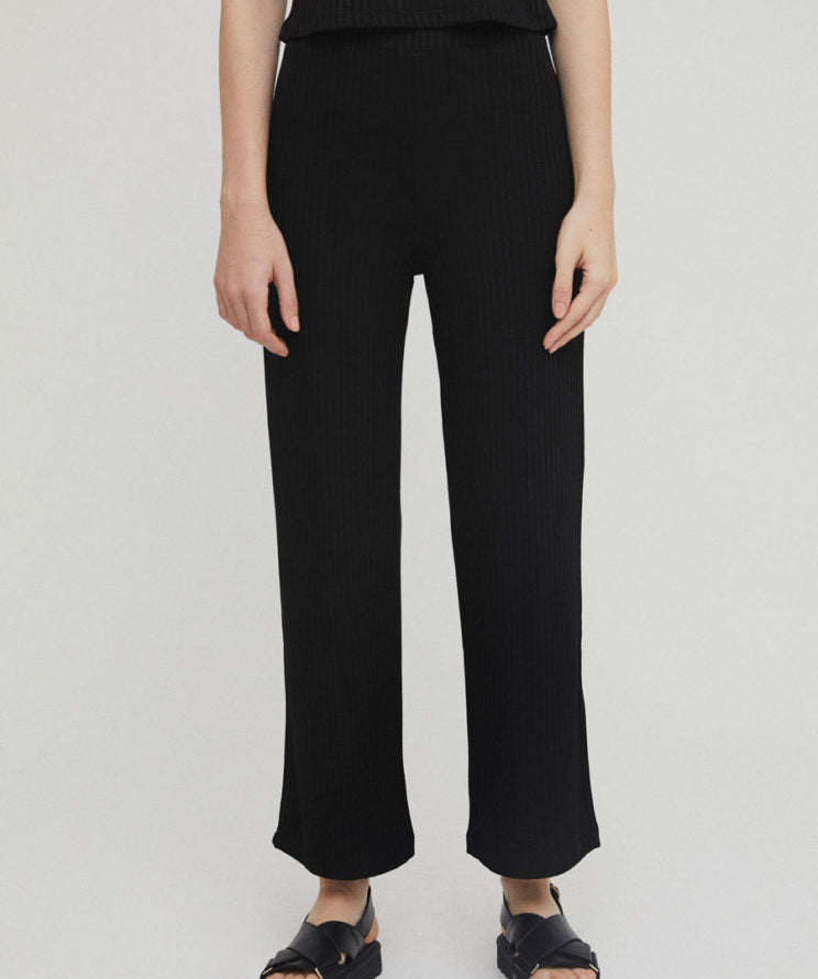 Rita Row Aine black ribbed elastic waist pants