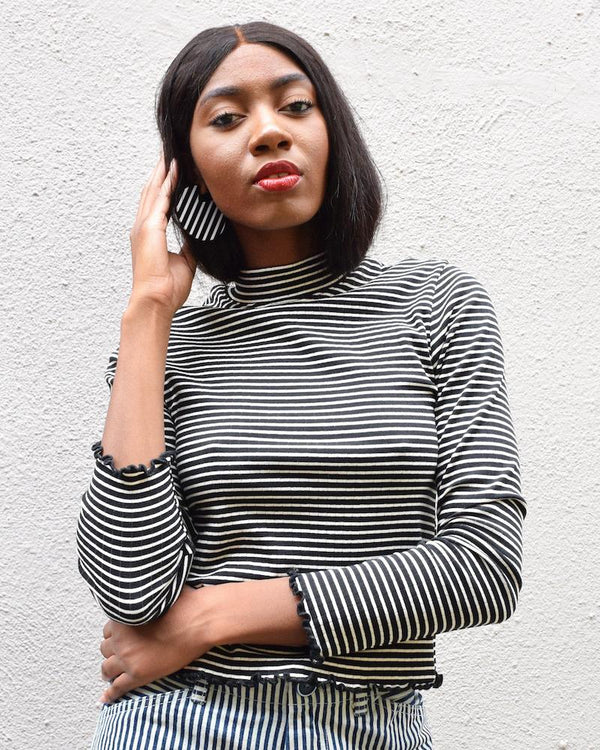 Whimsy & Row black and white striped GIgi mock turtleneck made of sustainable modal