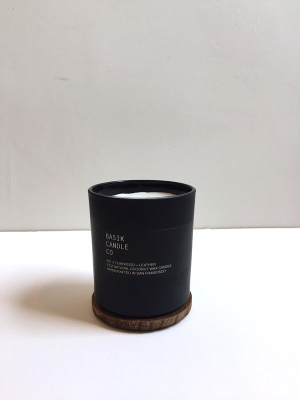 Teakwood + Leather Candle - Dandelion Post