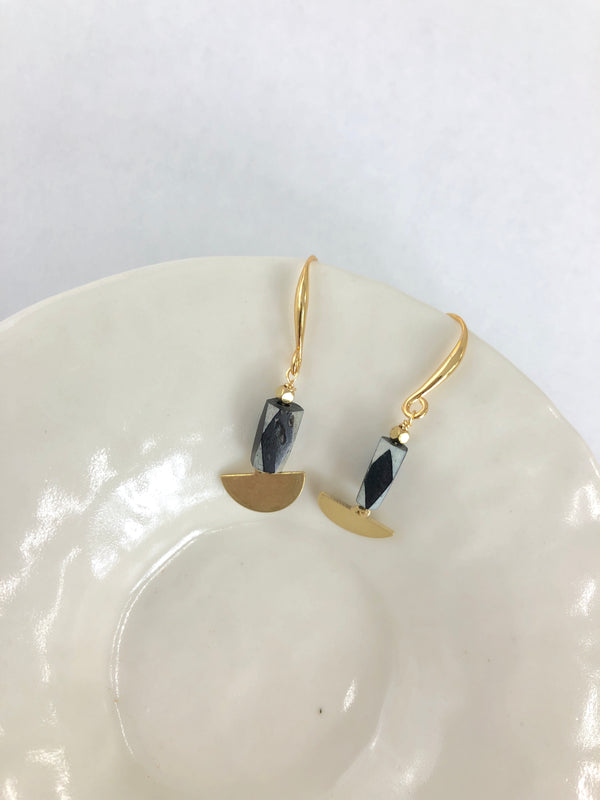 Tiny Half Moon Drop Earrings - Dandelion Post