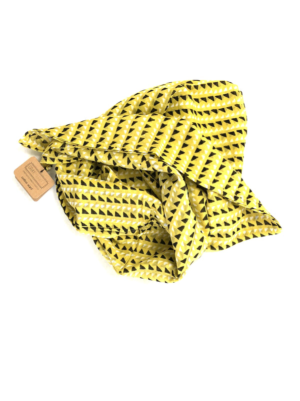 graymarket designs triangle block print scarf in mustard yellow